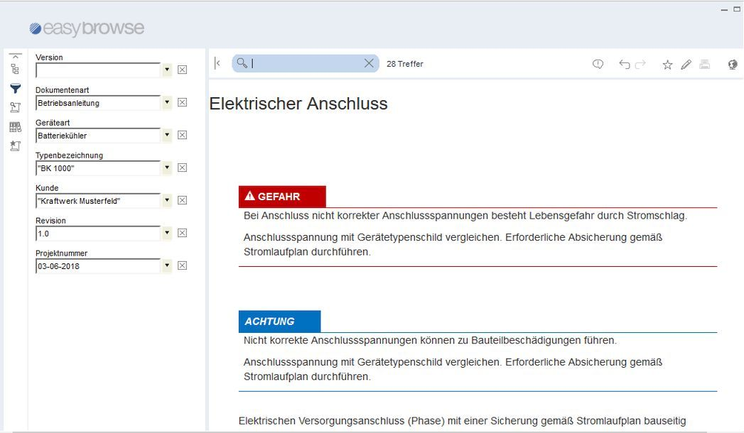EasyBrowse für docuglobe: MS Windows Viewer - Metadatenfilter